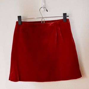 The Limited red velour mini skirt